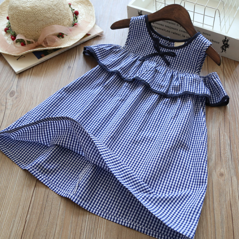 YY2099634 Fashion Baby Girl Dress Summer Plaid Kids Dresses For Girls Princess Dress Girls Clothes Lolita Girl Dress Birthday