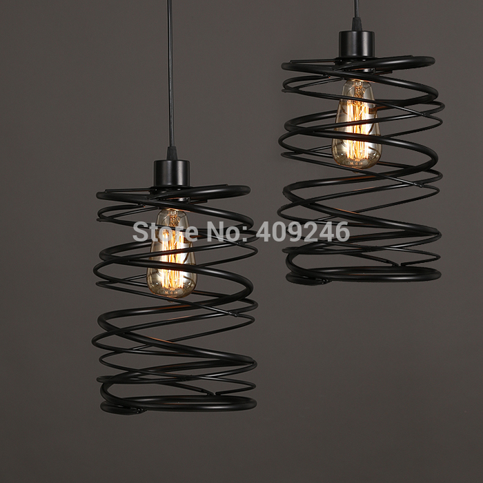 Vintage Loft Industrial Edison Spring Ceiling Lamp DropLight Pendant Cafe Bar Dining Room Coffee Shop loft industrial vintage edison wrought iron metal net led pendant lights lamp for cafe store shop hall dining room bedroom bar