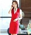 Новинка красный тонкий мода женского платья пр стили профессиональный деловых женщин одевается дамы рабочая одежда свободного покроя топы платье Vestidos