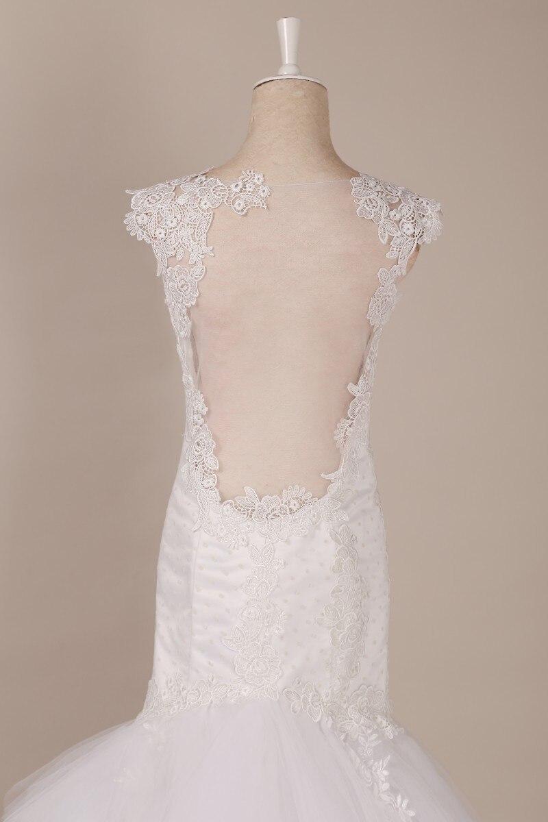 Long Train Wedding Dresses Mermiad V Neck Appliques Lace Sleeveless Women Bride Bridal Gowns Real Photo Wedding Dress 2018 New