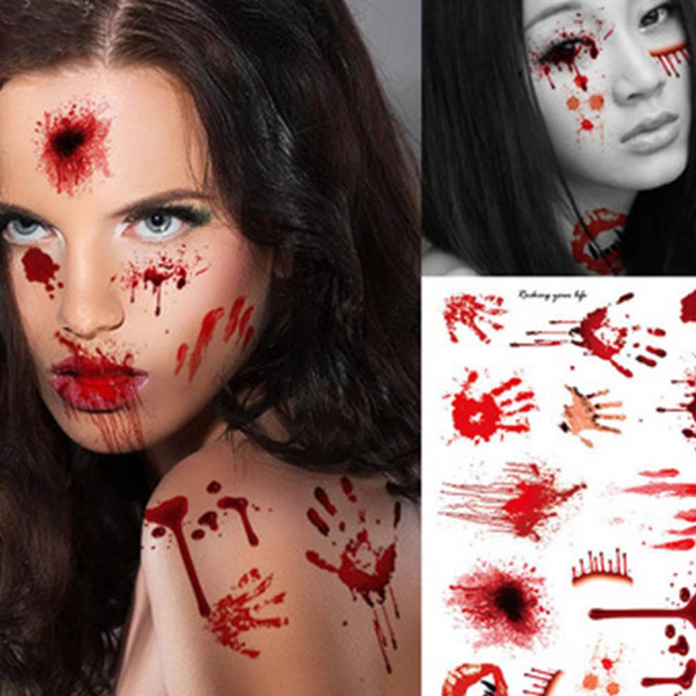 1pcs waterproof tattoo halloween horror terror fake scars bloody temporary sticker costume makeup halloween decoration - Halloween Fake Wounds
