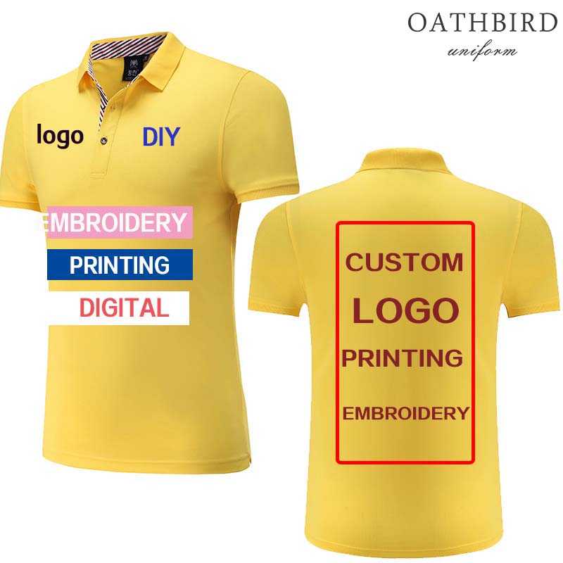 Custom Embroidered polo shirt with your own text design logo printing company logo work wear wholesale work uniform image