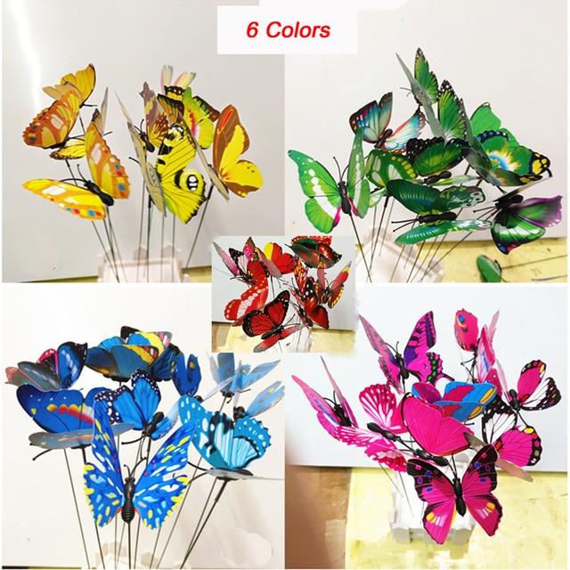 Charmant Colourful Garden Plastic Butterflies On Sticks Dancing Flying Fluttering  Butterfly DIY Art Ornament Vase Lawn Garden