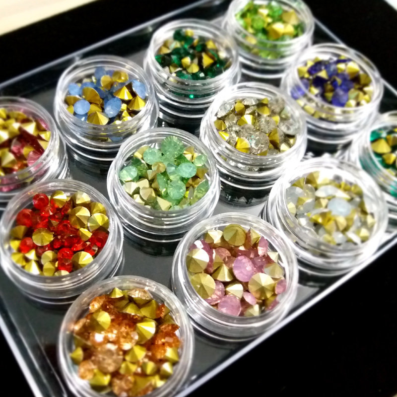 Japanese nail art fashion random 12 colors mixture pointy back nail art glass rhinestone glitter nail art crystal diamond set