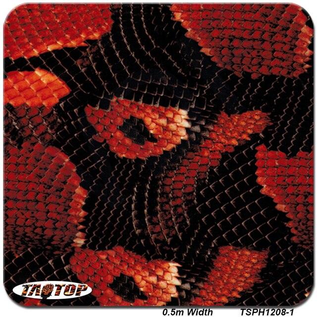 0.5 M * 10 M TSH1208-1 iTAATOP filmes Hidrográficas Transferência De água Da Pele de Cobra Vermelho Liquid image Transferência De Água Impressão Film