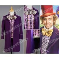 Вилли Вонка и шоколадная фабрика косплей костюм пальто жилет, галстук бабочка Хэллоуин Рождественские костюмы для взрослых мужчин