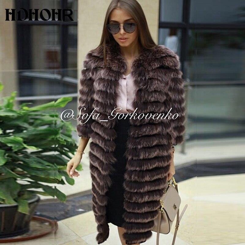 HDHOHR 2019 nové ženy teplý kabát z pravé kožešiny dlouhá zima originální bunda z kožešiny Fox s páskovým svrchním oblečením Můžete přidat rukávy zdarma