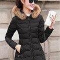 2016 Inverno Nova Moda Causal Médio Longa Seção Engrossar Slim Com Capuz Mulheres De Pele Gola Para Baixo Casaco de Cor Sólida