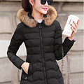 2016 Winter New Fashion Causal Medium Long Section Thicken Slim Hooded Solid Color Fur Collar Women Down Coat