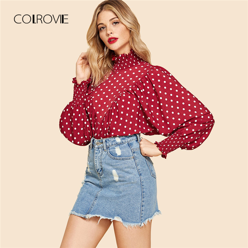 COLROVIE Red Frill Polka Dot Print Smock Vintage Elegant   Blouse     Shirt   2018 Autumn Long Sleeve Sweet Womens Tops And   Blouses