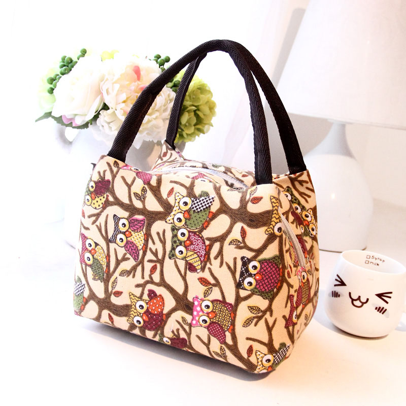 Portable Lunch Bag Owl Palm Totem Graffiti Insulated Canvas Food Picnic Bags For Women Kids Lunchbox Handbag Popular