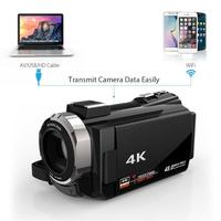 ALLOET 16X Digital Video Camera 4K WiFi Ultra HD 1080P 48MP Camcorder+Microphone+Wide Angle Lens UK Plug Consumer Camcorders