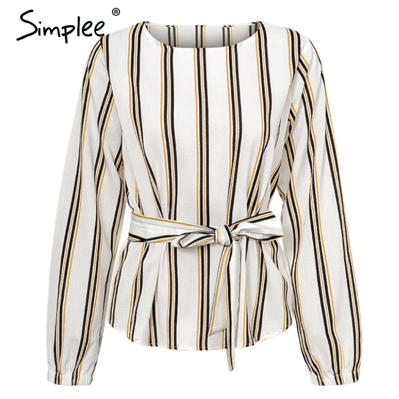Simplee Stripe o neck long sleeve bow sash   blouse     shirt   feminine 2018 Plus size women   blouse   casual autumn winter top