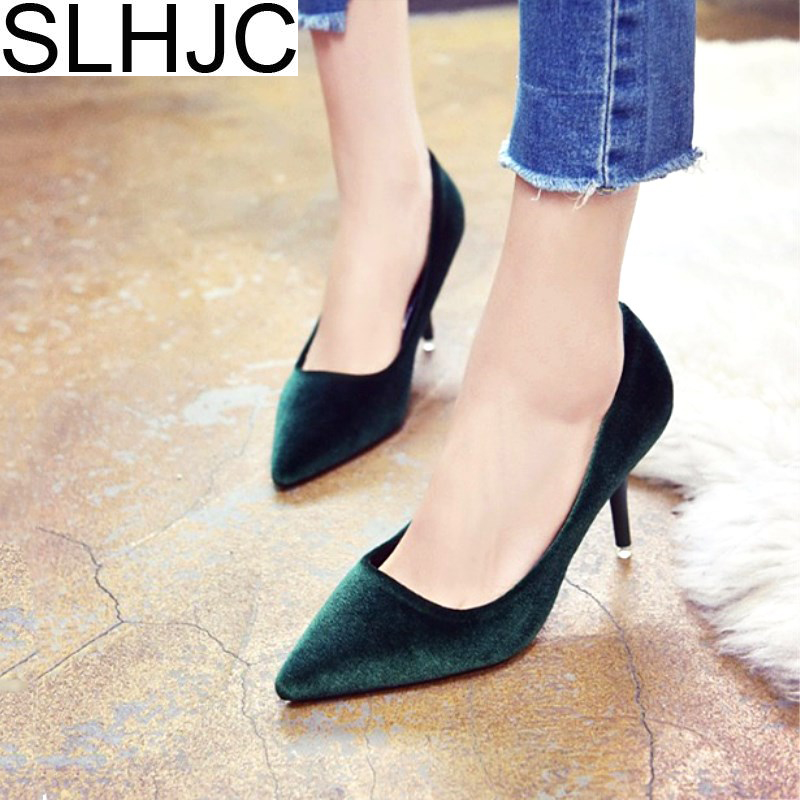SLHJC 2017 Spring Velvet High-Heeled Shoes Pointed Toe Thin Heels Elegance 6 CM Women Fashion Pumps All Match Shoes купить