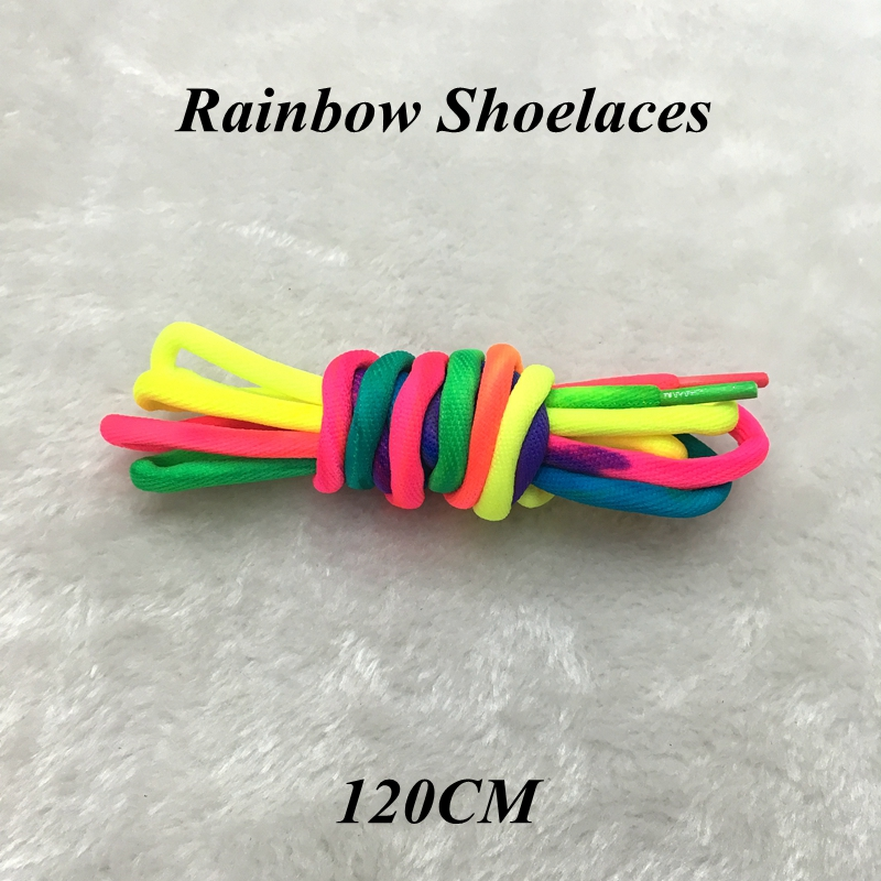 1 Pairs Rainbow Round Rope Canvas Athletic Shoelace Sport Sneaker Shoe Laces Strings 100CM 120CM YC-1