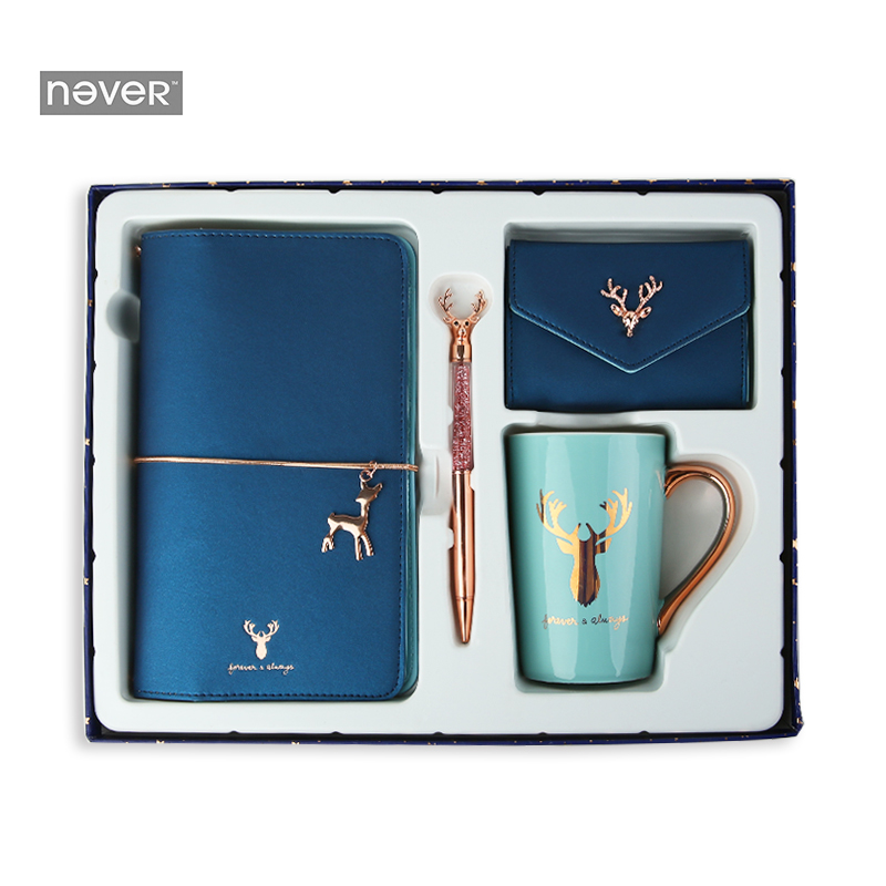 NEVER Christmas Series Stationery Set gift sets Diary notebook Ballpoint pen mug school student 2019 new year gift stationeryNEVER Christmas Series Stationery Set gift sets Diary notebook Ballpoint pen mug school student 2019 new year gift stationery