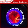 2X Waterproof Motorcycle LED Headlight Projector len 3000LM led light strobe flashing Motorbike fog spot driving angel devil eye