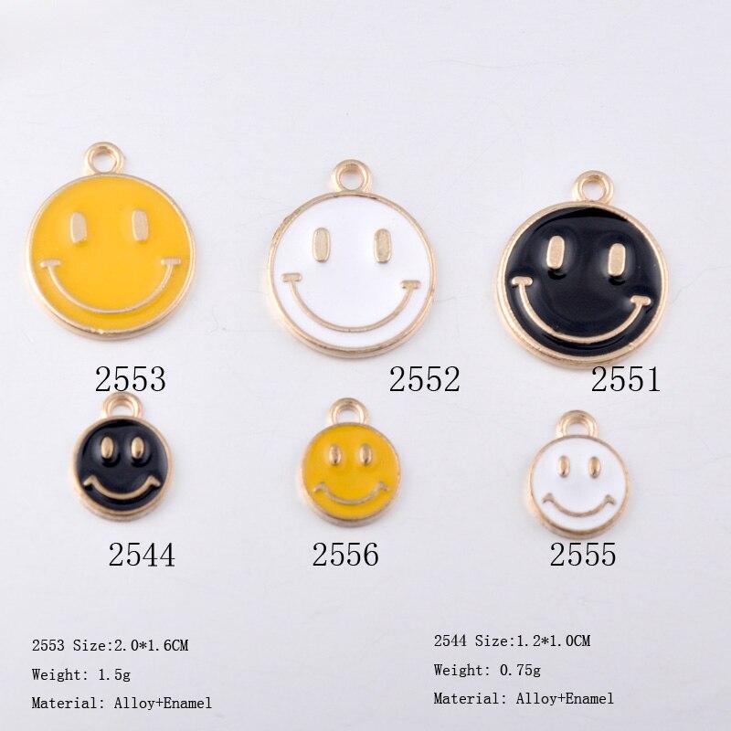 Cute Smiling Face Expression Enamel Charm Pendant DIY Bracelet Jewelry Findings