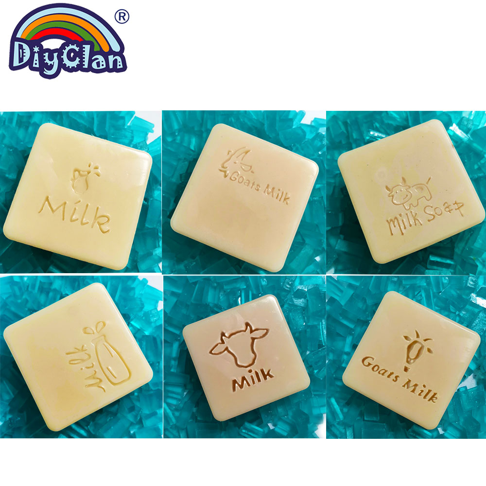 Diy Cow Milk Natural Soap Stamp Goats Milk Handmade Organic Glass Soap Making Mold Bottle Shape Resin Acrylic Seal Custom