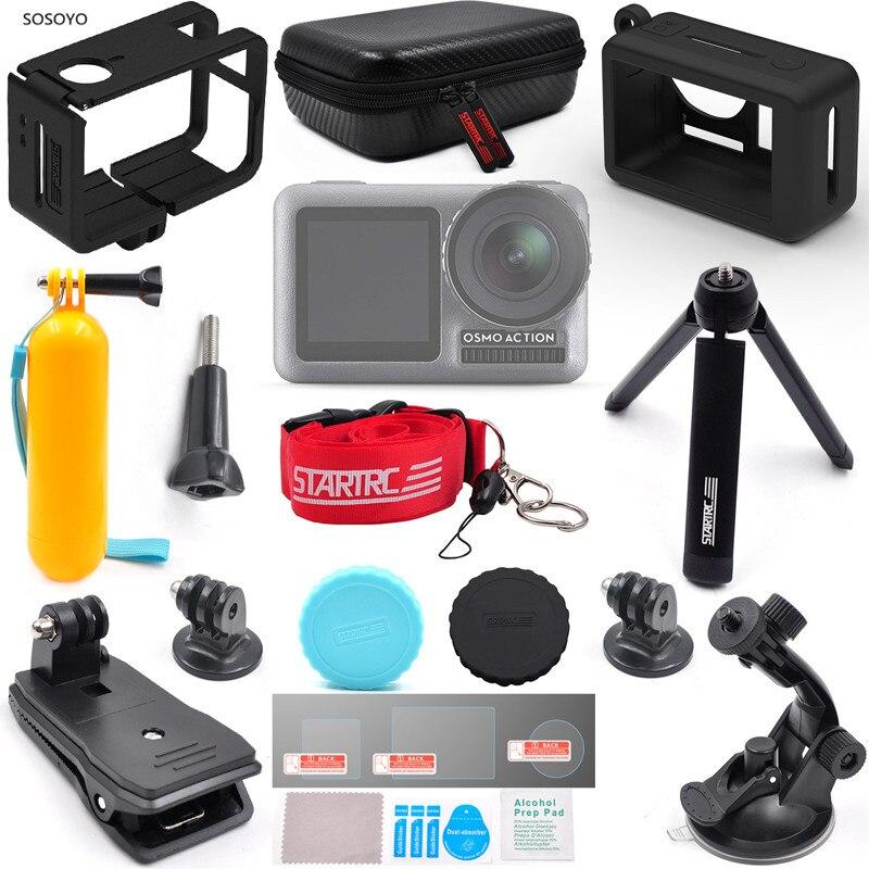14 pièces/ensemble sport caméra accessoires costume coque en silicone sac de rangement cadre de protection film sac à dos Clip pour DJI Osmo action