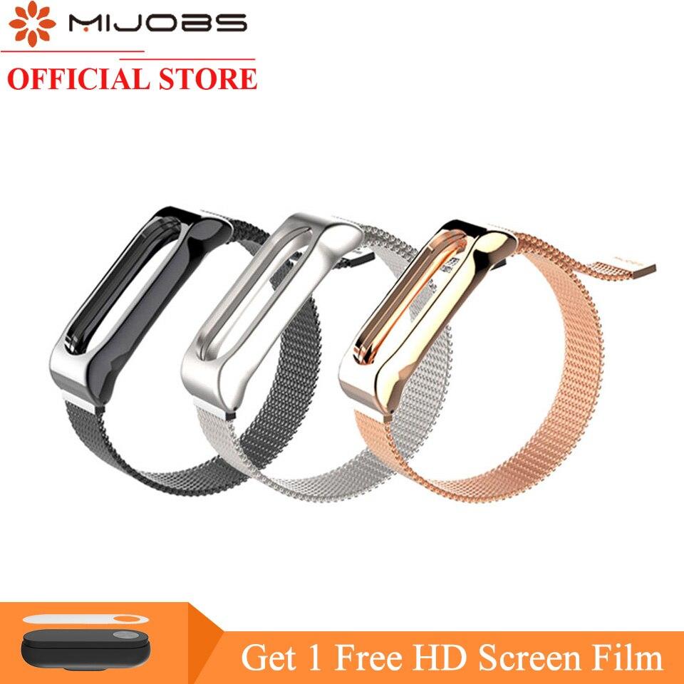 Mijobs Magnet Stap for Xiaomi Mi Band 2 Strap Mi Band 2 Metal Wrist Strap Bracelet for Mi Band 2 Miband 2 Smart Watch Band Strap billy's band