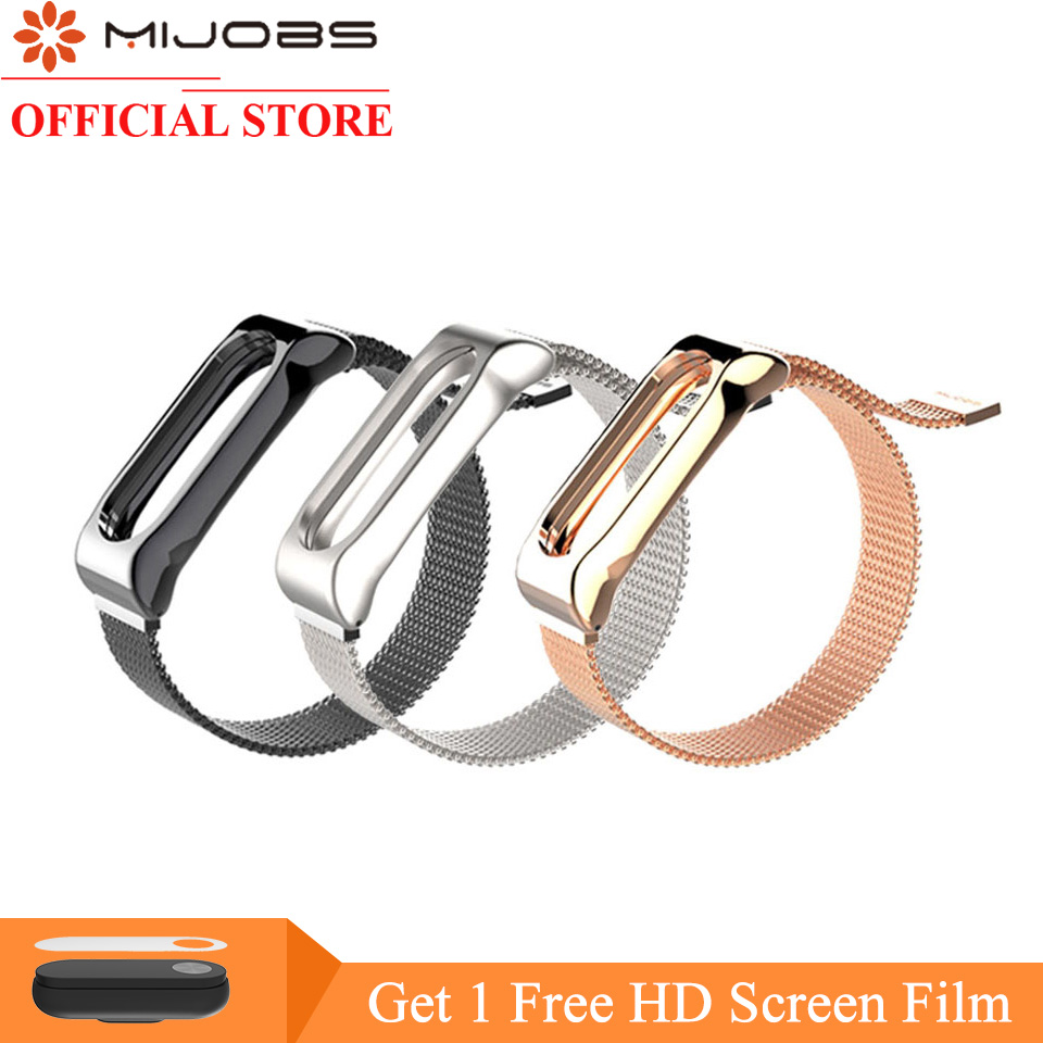 Mijobs Mi Band 2 Strap Bracelet for Xiaomi Mi Band 2 Wrist Strap Mi Band2 Smart Band Strap MiBand 2 Wristband Magnet Metal цена