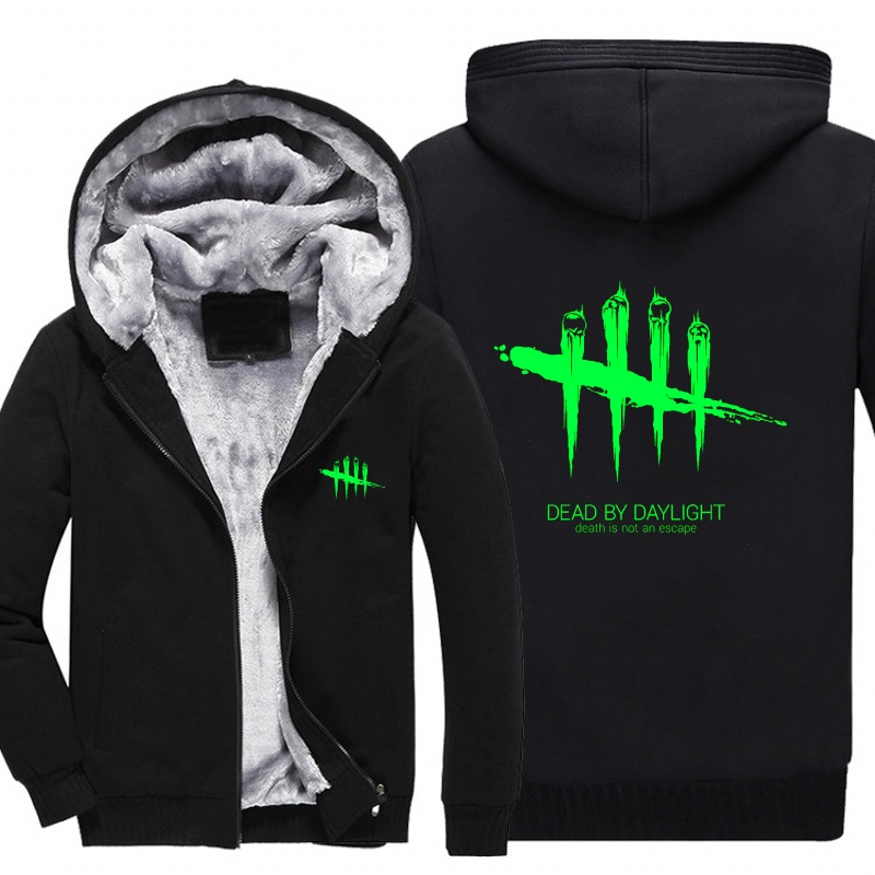 New Mens Sweatshirt Game Dead by Daylight Luminous Logo Thick Hoodies Printing Pattern Zip up Fleece Zipper Tracksuit Tops