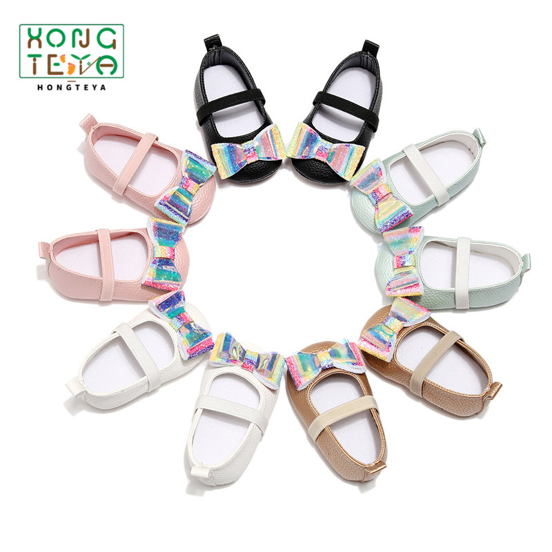 Summer Baby Girl Shoes PU Leather Rainbow Bow Ballet Girls Shoes Baby Moccasins With Hard Rubber Sole Toddlers Party Shoes