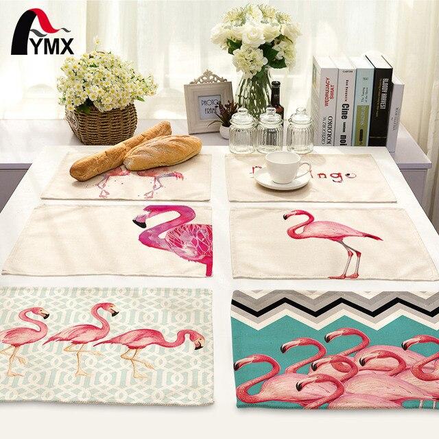 Милый мультфильм творческий животного Фламинго печатных Столовая салфетка для свадьбы набор чаша обеденный коврики Детский столовый набор Фламинго украшения