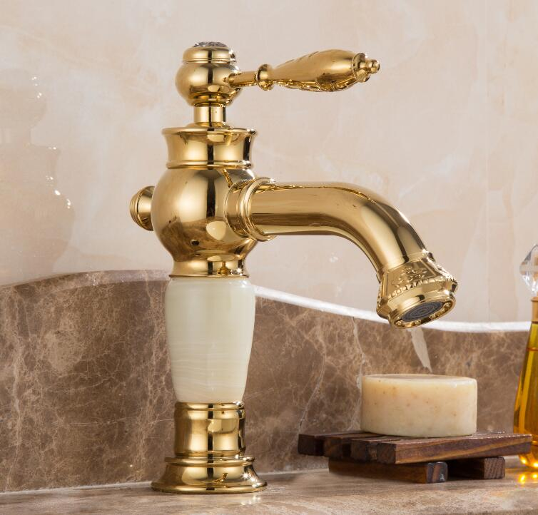 New Design Gold plating Luxury Bathroom Basin Faucet Single Handle Vanity Sink Mixer water Tap Brass and Jade Basin Sink Faucet donyummyjo luxury bathroom basin faucet brass golden polish swan shape single handle hot&cold water vanity sink mixer tap page 6