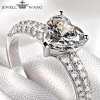 Ювелирное кольцо 18 k из белого золота в форме сердца 1.00ct кольцо с алмазом moissanites боковые коробки для украшений с подсветкой кольца для женщин
