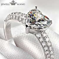 Bijoux en or blanc 18 k bague coeur 1.00ct Moissanites diamant côté proposer des bagues de fiançailles pour les femmes cadeau brillant