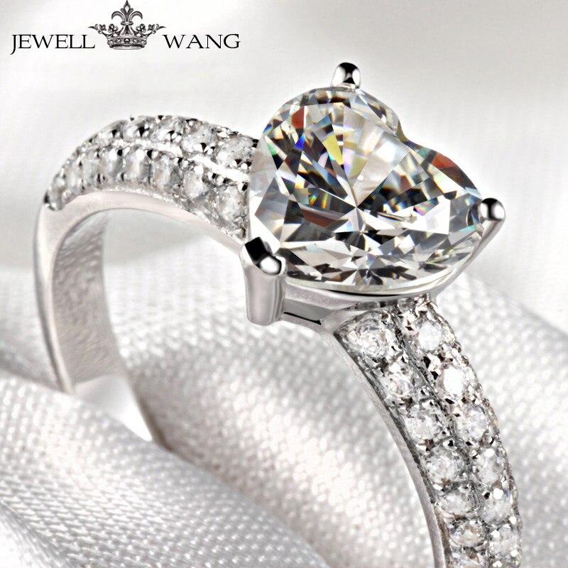 Moissanites Jewellwang 18 k Anel de coração de Ouro Branco 1.00ct Diamante Lado Propor Presente Anéis de Noivado Para As Mulheres Brilhantes