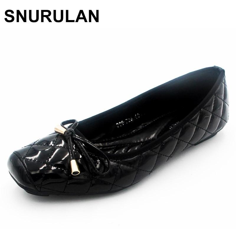 цена на SNURULAN New Arrival Patent Leather Flat Women Ballet Flats Shoes Women Plus Size  Black Square Toe Bowtie Shoes Black For Lady