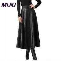 WBCTW Pu Faux Leather 6XL 7XL Plus Size Spring Long Maxi Jupe Taille Skirt 2018 Fashion Solid Bodycon Jupe Femme Skirts Sexy