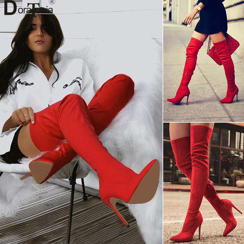 DoraTasia brand 31 43 red women over the knee thigh high boots ladies high heels knight boots pointed toe Women shoes woman