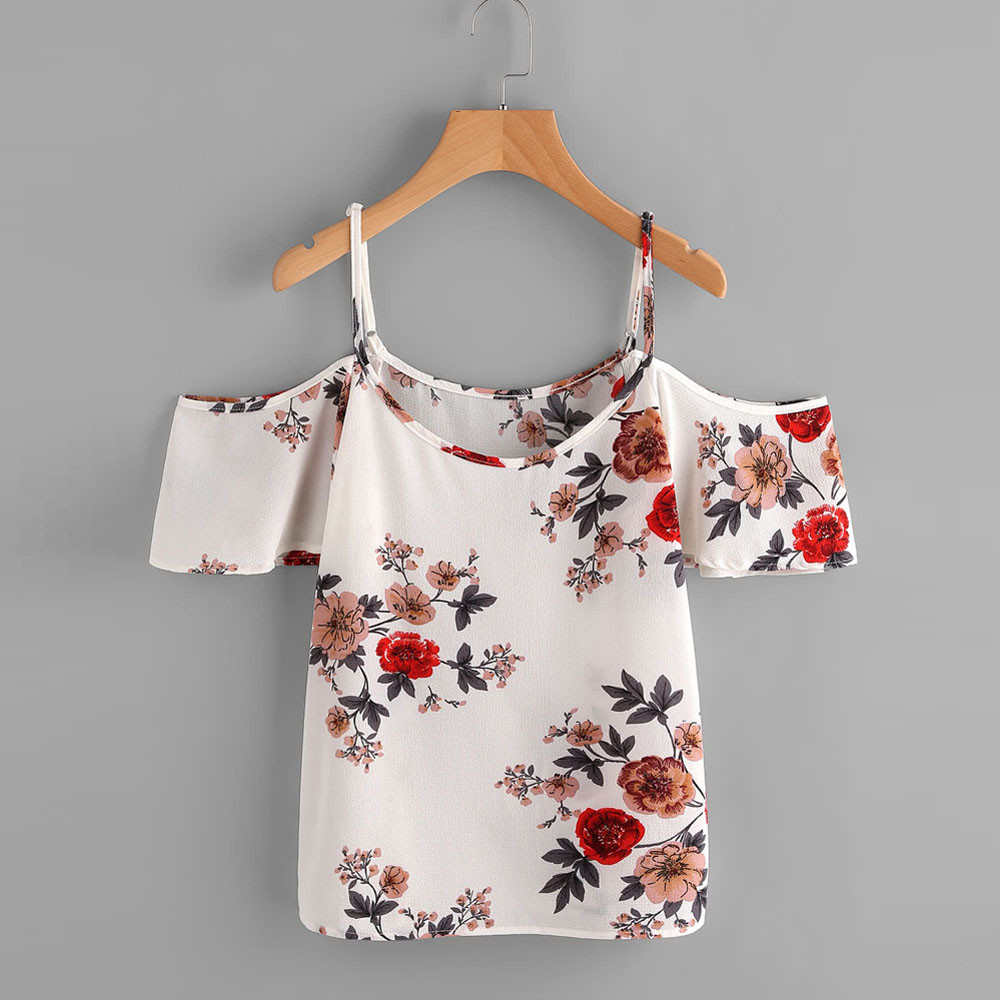 Feitong 2018 Women Floral Print Casual Sleeveless Crop Top Vest Tank Shirt Blouse Cami Top Camisa Feminina Manga Comprida YF2 ...