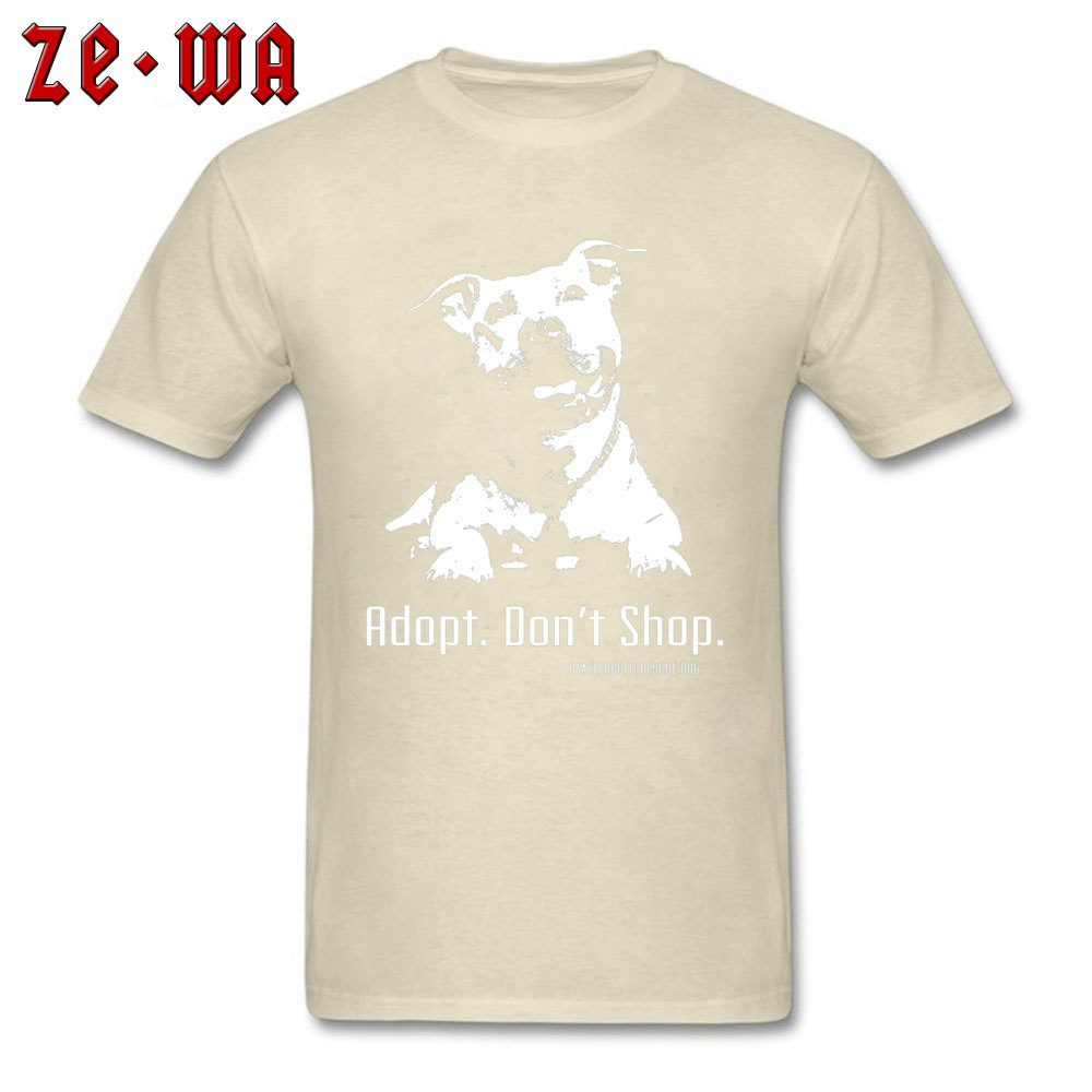 Casual New Coming Short Sleeve Design Top T-shirts 100% Cotton Crew Neck Men Tops Tees Geek Tees Father Day Wholesale Adopt Dont Shop P4P apparel -480 beige