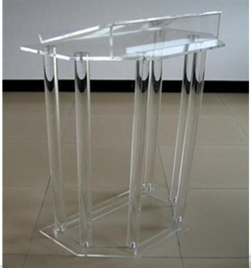 Speak Rostrum Modern Elegant Floor Standing Acrylic Dais Speech Stand Clear Acrylic Lectern Podium