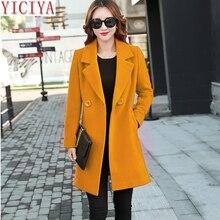 YICIYA, зимнее, осеннее пальто, женская шерстяная куртка, длинная, более размера d, пальто размера плюс, большая, черная, Смешанная шерсть, теплая верхняя одежда, одежда