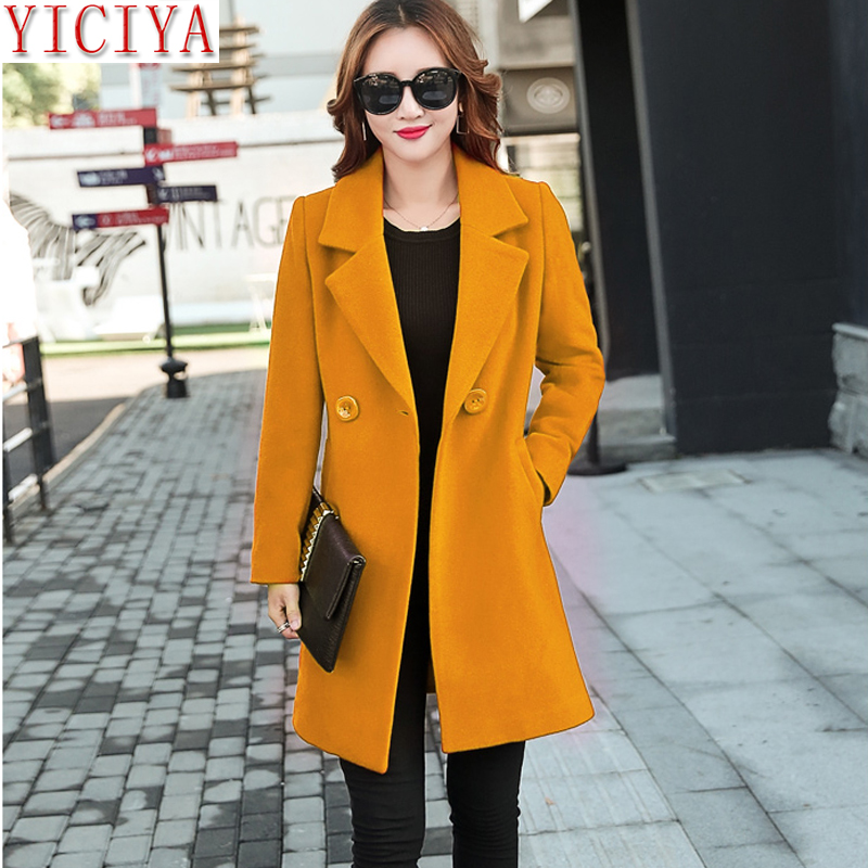 YICIYA Autumn Winter jacket women yellow overcoat wool coat suits plus size large big long black slim blend clothes outerwear Chemisier