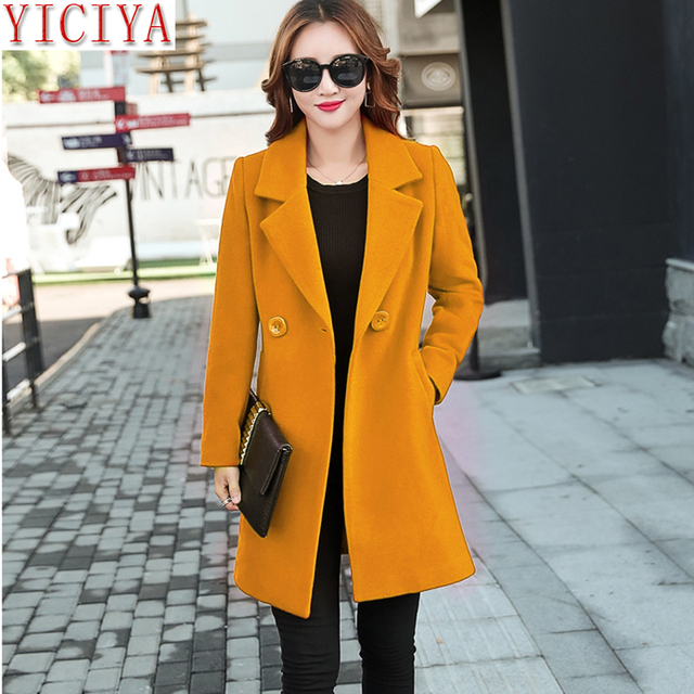 30e1513239457 YICIYA Autumn Winter jacket women yellow overcoat wool coat suits plus size  large big long black slim blend clothes outerwear