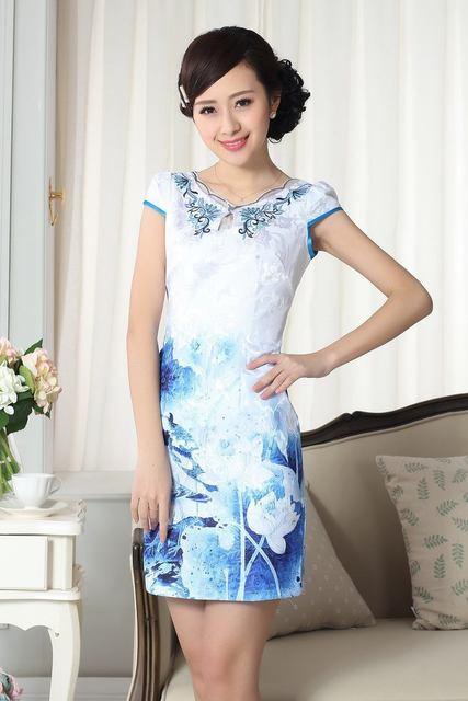 New Style Blue Chinese Women's Cotton Cheongsam Mini Qipao Traditional Printed Dress Flower Size S M L XL XXL NQ001