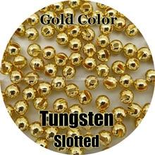 ゴールドカラー、 100 タングステンビーズ、スロット、フライイング、