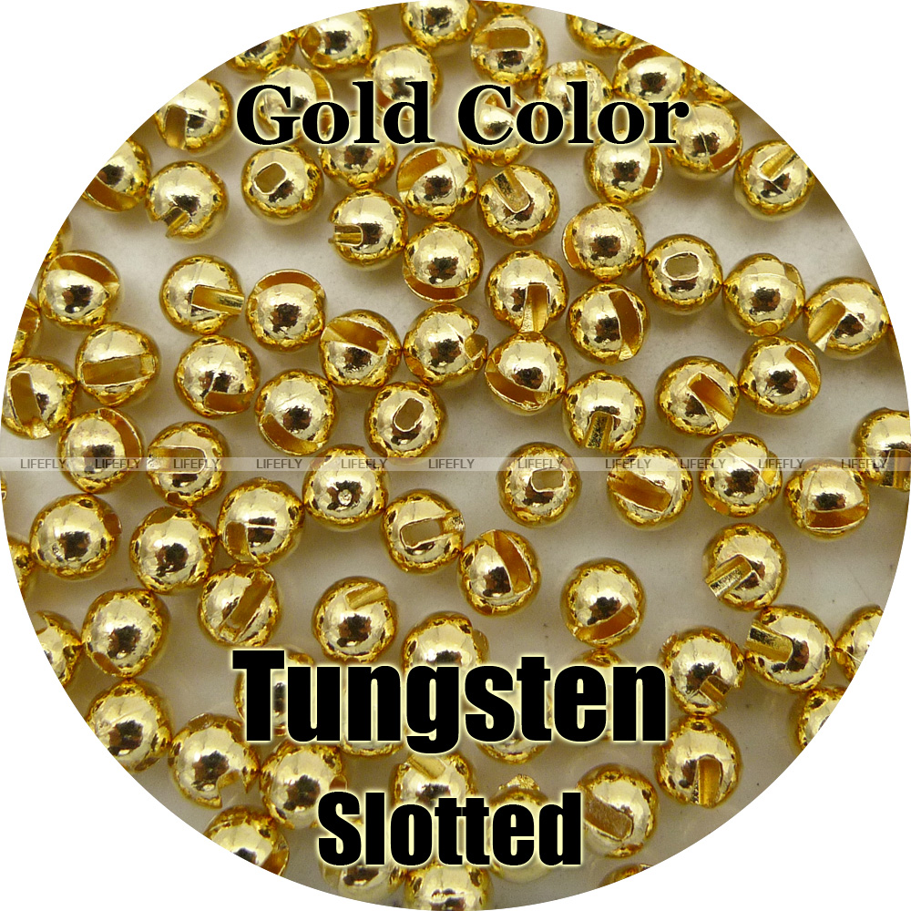 Gold Small Slotted Tungsten Beads10 Per Packet