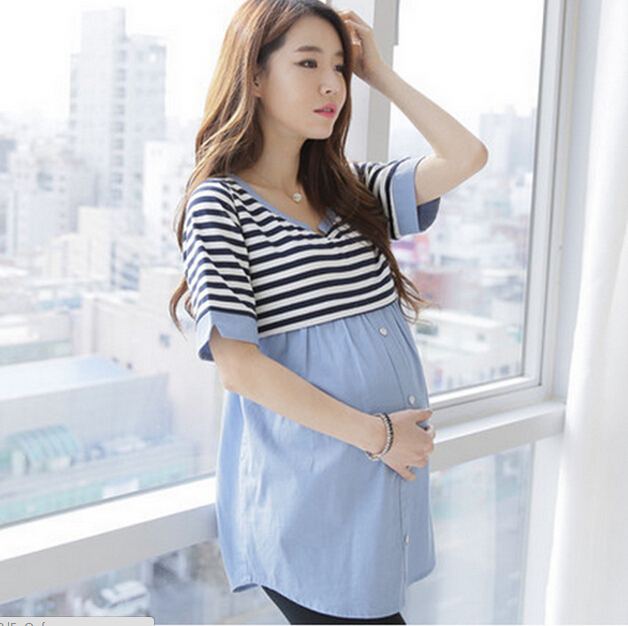 9e8bf85effd Korean Maternity Summer Fashion Elegant Clothing For Pregnant Women  Breastfeeding T-shirt Long Paragraph Pregnancy Clothes