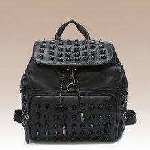 Новый 2016 женская сумка овчины заклепки институт ветер сумка рюкзак рюкзак сумки моды