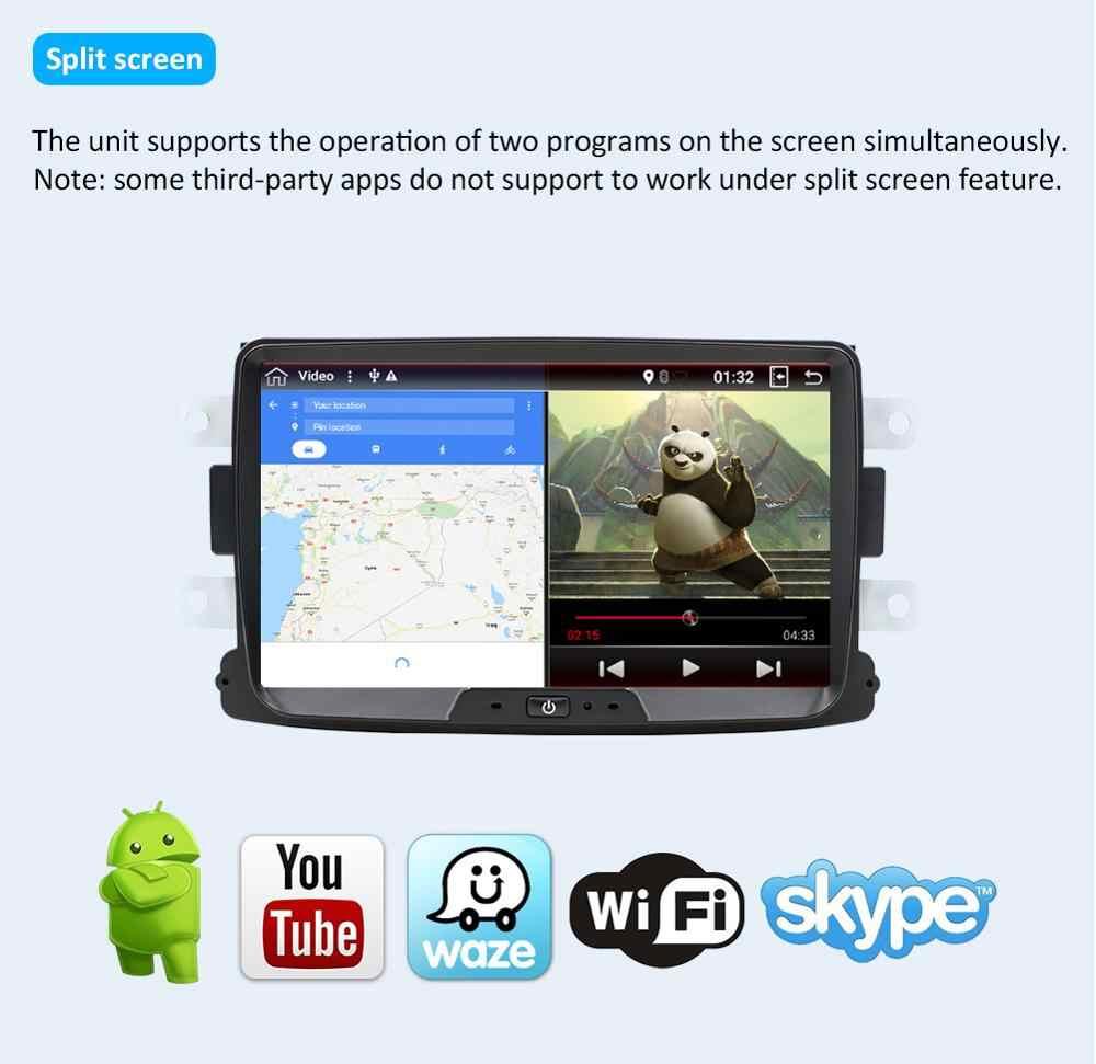 "Mobil Multimedia Player 1 DIN 8 ""Android 9.0 Mobil DVD Stereo untuk Renault Dacia Duster Sandero Auto Radio GPS navigasi Wifi Bt"