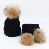 Winter 2 Pieces Set Kids Winter Hat Scarf For Girls Hat Real Raccoon Fur Pom Pom Beanies Kids Cap Knitted Hat Wholesale