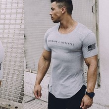 ACHIEWELL Summer  Body-Building Men T-shirt Tight Stretchy Exercise Cotton Fitness of men
